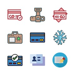up icon set. vector set about photo camera, business card, card and snowflake icons set.