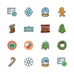 ornament icon set. vector set about christmas sock, gingerbread man, snowflake and snow globe icons set.