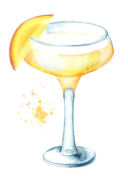 Alcohol cocktail Daiquiri with mango. Watercolor hand drawn illustration isolated on white background