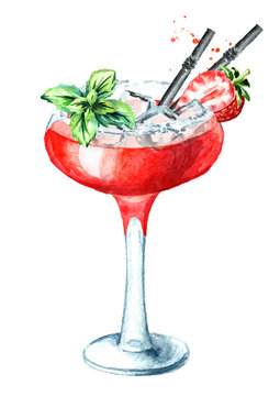 Alcohol cocktail Daiquiri with strawberry and decor. Watercolor hand drawn illustration isolated on white background