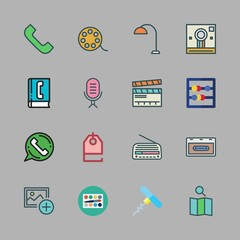 retro icon set. vector set about radio, abacus, phone book and cassette icons set.
