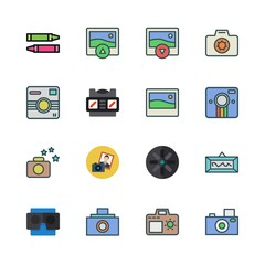 picture icon set. vector set about pencil, stereoscope, photo and frame icons set.