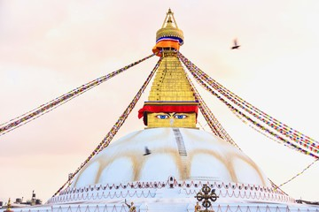 Boudhanath Stupa at Sunset in Kathmandu City