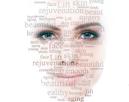 Lifting skin and rejuvenation skin and cosmetology on female face