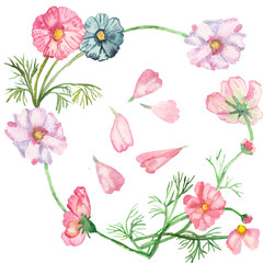 Watercolor pattern, seamless composition delicate pink and blue flowers on green stems with needle leaves isolated on white background. Crumbling flower.