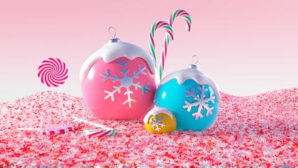 Bunte Weihnachtskugeln mit Glasur und bunten Zuckerkristalle