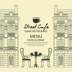 Vector menu for sidewalk street cafe with table and chairs on the background of old european town with place for text in retro style