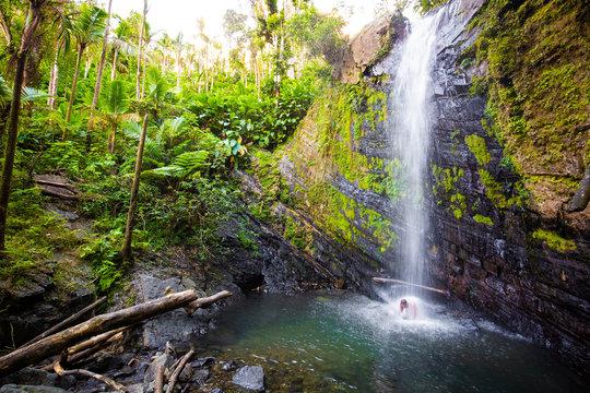 Juan Diego Falls at el Yunque rainforest Puerto Rico