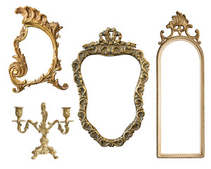 Vintage gilded frames with an ornament isolated on white background. Retro style.