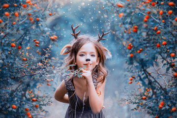 spirit of the forest in the form of a child in a light brown dress, a baby deer playfully leads into the forest, the little faun keeps the secret and hides in the berry bushes, the winter cold colors