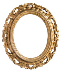 Vintage gilded round frame with an ornament isolated on white. Retro style.