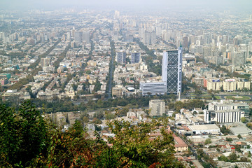 Aerial view of Santiago as seen from San Cristobal hill in Santiago, Chile, South America