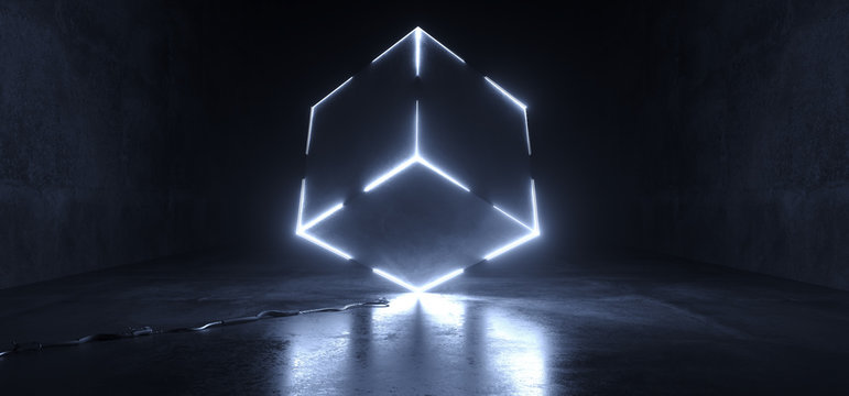 Futuristic Sci Fi Grunge Concrete Reflective Dark Room With Huge Rotated Cube Shape Glowing With White Ice Led Lights On Edges Technology Background Lasers Club 3D Rendering