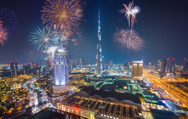 Printed roller blinds Dubai Fireworks display at town square of Dubai downtown