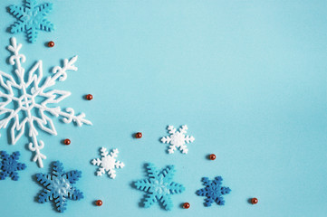 Winter background blue, snowflakes banner.