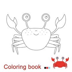 illustration of funny crab for coloring book. Simple educational game for kids