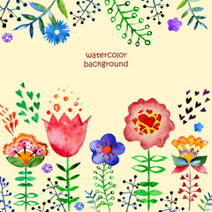 vector composition with pretty watercolor flowers