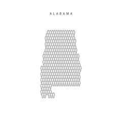 Vector People Map of Alabama, US State. Stylized Silhouette, People Crowd. Alabama Population