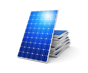 Obraz Solar panels on a white - fototapety do salonu