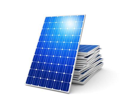 Solar panels on a white