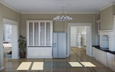 kitchen, interior visualization, 3D illustration