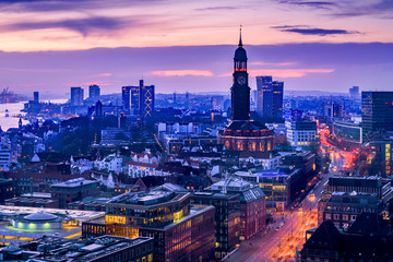 Aerial view of downtown Hamburg, Germany, at dusk.