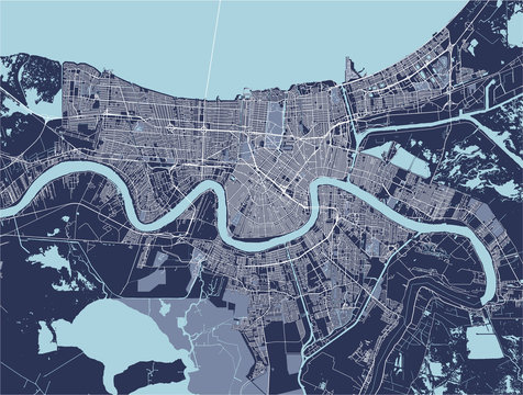 map of the city of New Orleans, Louisiana, USA