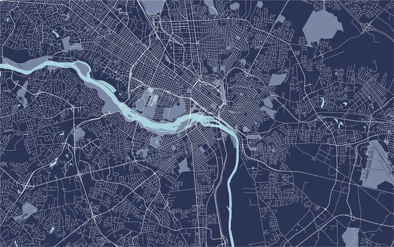 map of the city of Richmond, Virginia, USA