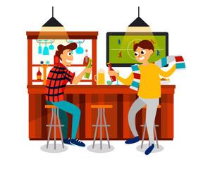Cartoon best friends watching football game in bar