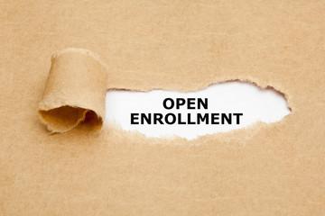 Open Enrollment Torn Paper Concept