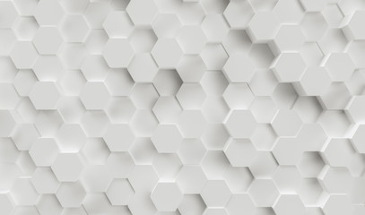 Abstract paper Hexagon white Background - 3D rendering - Illustration Wall mural