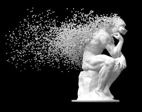 Sculpture Thinker With VR Glasses Desintegrated Into 3D Pixels On Black Background
