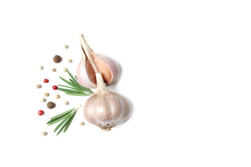 Canvas Prints Spices Composition with garlic and onion on white background, top view. Space for text