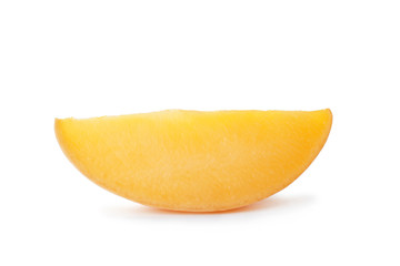 Fresh juicy mango slice isolated on white