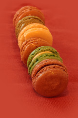 French Macaroon cookies in fall colors