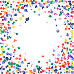 Watercolor confetti on white background. Rainbow colored blobs square vignette. Colorful bright hand painted illustration. Happy celebration party background. Exquisite vector illustration.