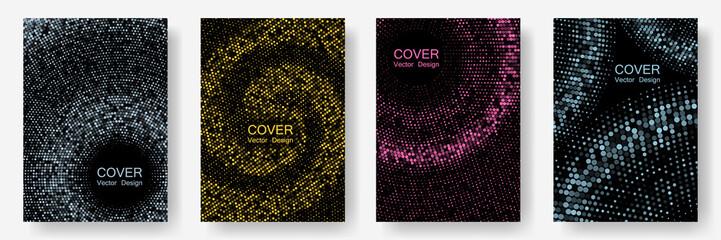 Halftone comic covers set vector graphic design.