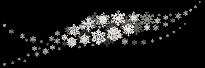 Christmas and New Year decorations: snowflakes on black background. Isolated, black background.