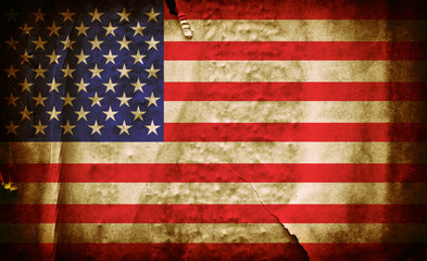 National flag of United states of America on old creased crumpled grunge paper poster grunge texture wall background / American flag