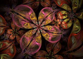 Multicolored Dynamic and flowing natural forms. Abstract fractal Flowers.