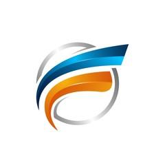 Circle swoosh Orbit vector and Satellite Cosmos logo. Planet best logo.