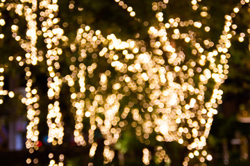 Blurred Led string lights for Decorative outdoor hanging on tree in the garden at night time festivals season - decorative Christmas lights - happy new year