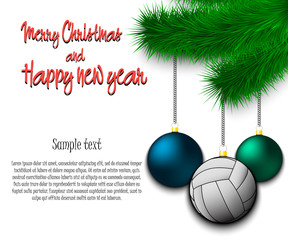 Volleyball ball hanging on a Christmas tree branch