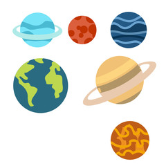 Space Planets cartoon or Space Planets Clipart cartoon  isolated on white background illustration