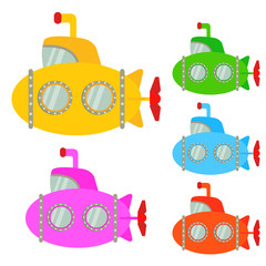 Submarine cartoon or Submarine Clipart cartoon  isolated on white background illustration