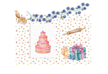 Greeting card illustration with birthday cake squirrel and blue pize box on cups pattern background watercolor style