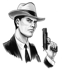 Retro styled man holding a gun. Ink black and white drawing