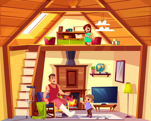Vector cartoon interior of house with family. Disabled father with helping son in living room. Girl is on attic, lounge. Duplex background. Cross section of home, crest. Furniture, fireplace in hall.