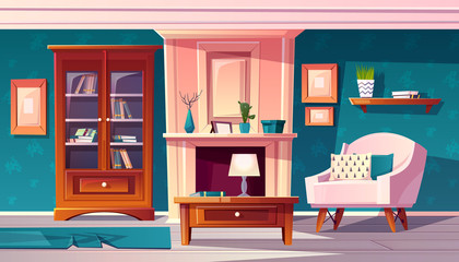 Vector cartoon luxury cabinet with fireplace and molding on wall. Rich room with bookshelf and secretaire. Fancy blue, expensive interior with furniture in baroque or rococo style.