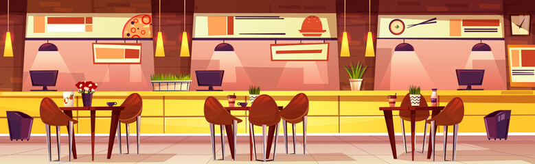 Vector horizontal illustration with cafe. Cartoon cozy interior with tables and chairs. Bright furniture for cafeteria, various cuisine. Fast food, sushi, pizza in menu. Background of restaurant.